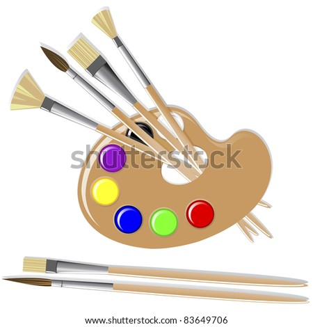 Art palette with paints and brushes. Vector. - stock vector