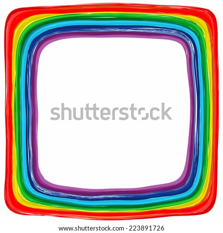 Art rainbow color frame abstract splash paint background  - stock vector