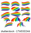 Art rainbow colorful brush strokes vector set - stock