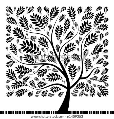 Art rowan tree beautiful for your design - stock vector