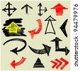 art set of grunge arrows - stock vector