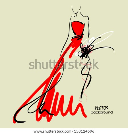 art sketch #6 of beautiful young  bride in red dress and with the bride's bouquet. Vector background with space for text. - stock vector