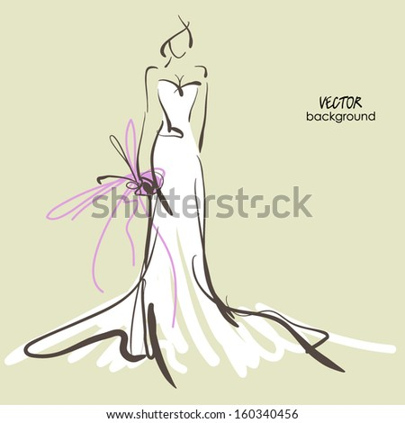 art sketch #10 of beautiful young  bride in white dress and with the bride's bouquet. Vector background with space for text. - stock vector