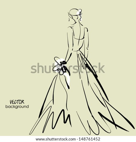 art sketch #3 of beautiful young bride with the bride's bouquet. Vector background with space for text. - stock vector