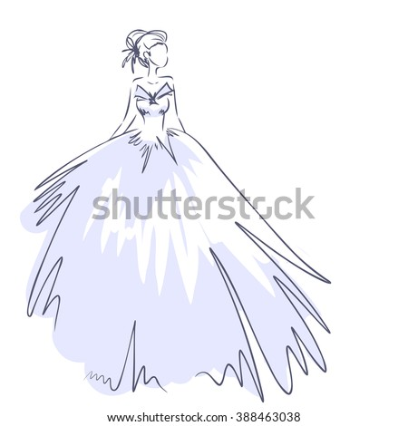 Art sketch elegant young bride brides stock vector 388463038 art sketch of elegant young bride with the brides bouquet standing girl at full length junglespirit Image collections