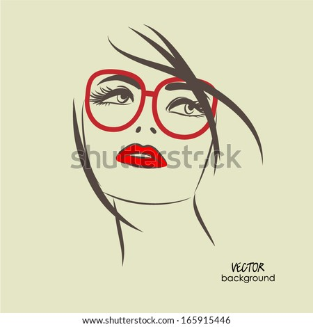 art sketched beautiful girl face from the front with glasses in vector - stock vector