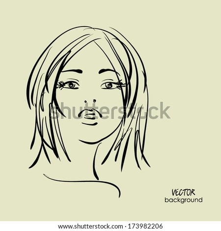 art sketched beautiful girl face from the front with straight hair, in vector