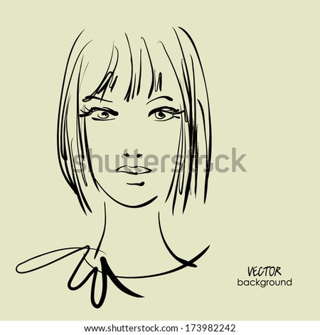 art sketched beautiful girl face from the front with straight hair, in vector - stock vector