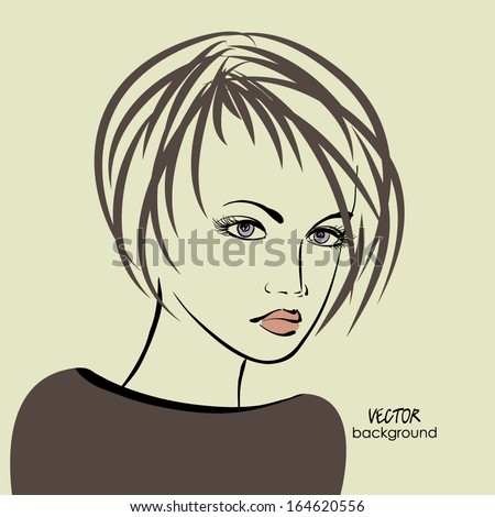 art sketched beautiful girl face in profile with straight short hair, in vector