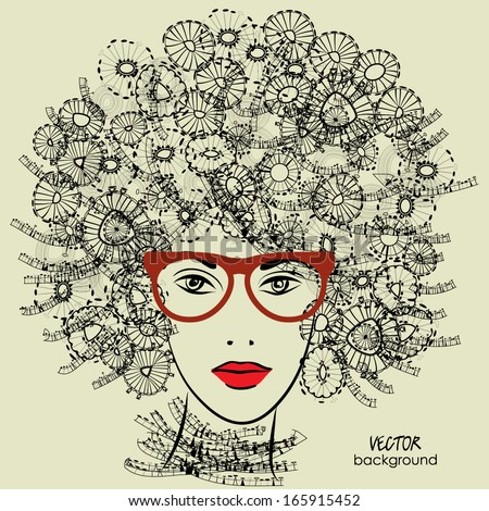 art sketched beautiful girl face with glasses and curly hairstyle in vector - stock vector