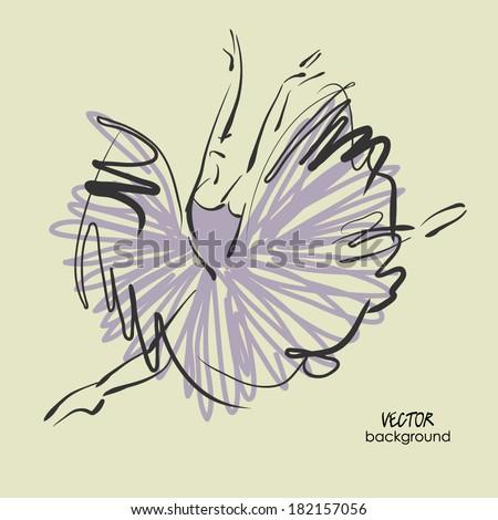 art sketched beautiful young ballerina with long tutu dancing - stock vector