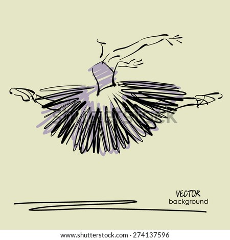 art sketched beautiful young ballerina with long tutu in fly dance - stock vector