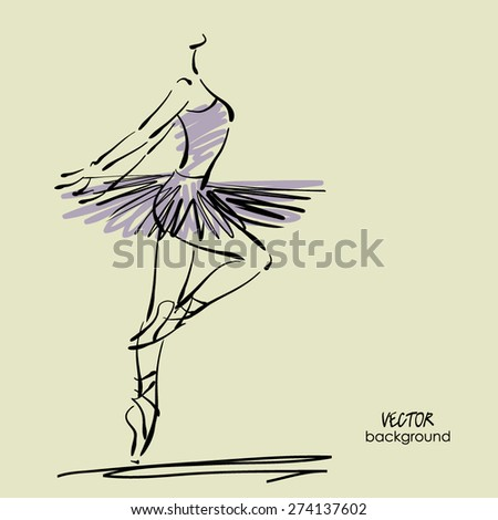 art sketched beautiful young ballerina with tutu in pose of dance - stock vector