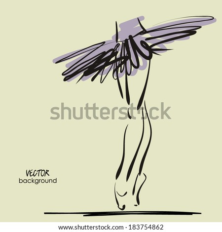art sketched legs of beautiful young ballerina in the ballet pose - stock vector