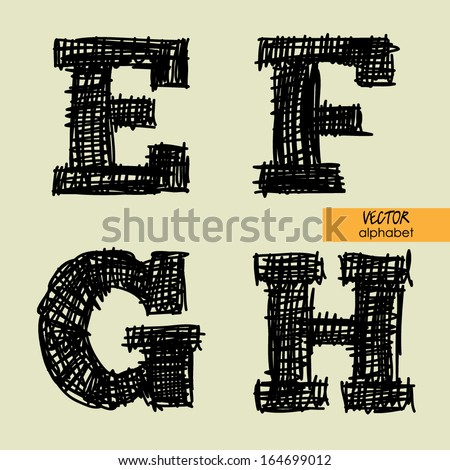 art sketched stylized alphabet in vector, black grungy ink font, signs E, F, G, H - stock vector