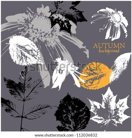 art sketching leaves and floral pattern vector background - stock vector