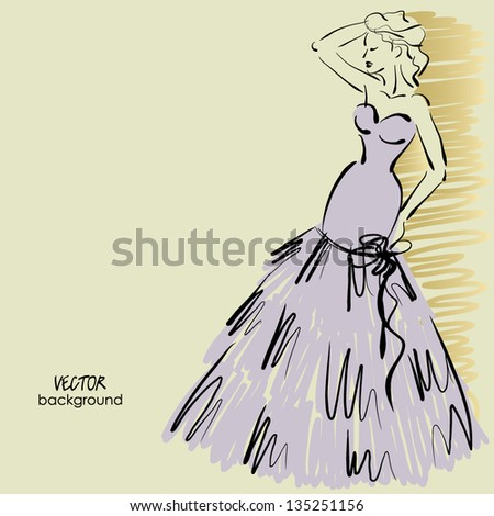 art sketching of beautiful young bride in elegance dress next the wall, sketch vector - stock vector