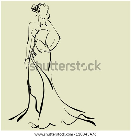 art sketching of beautiful young bride, sketchy vector with space for text. Raster version is also in my gallery. - stock vector