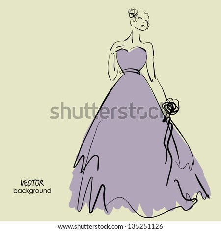art sketching of beautiful young bride with the bride's bouquet, sketch vector - stock vector