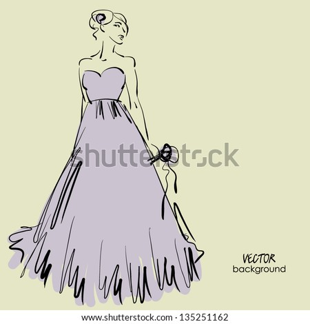 art sketching of beautiful young bride with the bride's bouquet, sketchy vector - stock vector