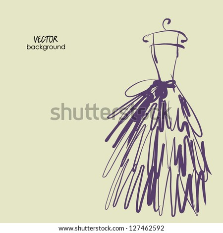 art sketching of bride dress on empty background with space for text - stock vector
