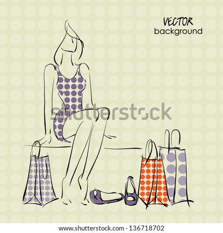 art sketching sale background with tired sitting young woman, shoes and space for text - stock vector