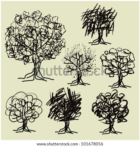 art sketching set #5 of vector trees symbols in naive style - stock vector