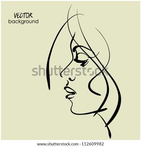 art sketching vector girl profile face  symbols - stock vector