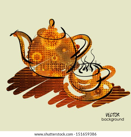 art sketching vector of teapot and cup on table in brown and orange colors - stock vector