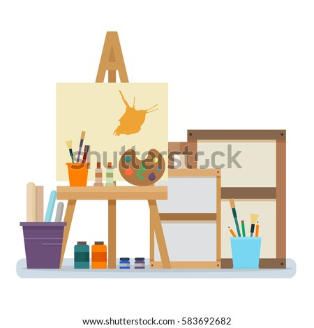 Art Studio Interior. Creative Workshop Room With Canvas, Paints, Brushes,  Easel And