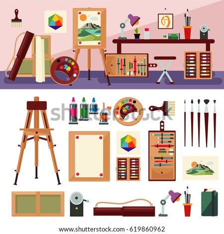 Art Studio Interior Design Concept With Furniture Painting Tools Equipment  And Accessories Isolated Vector Illustration