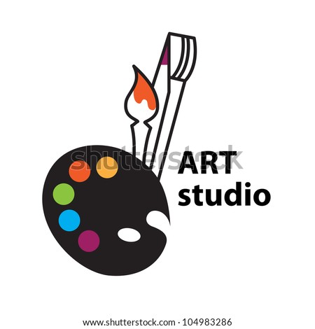 Art-studio sign - Vector Brush and Palette Icon - stock vector