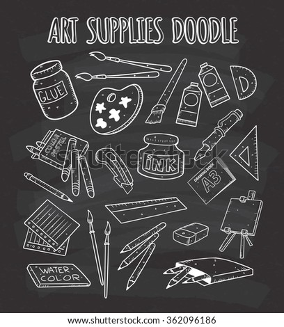 Art supplies doodle on chalkboard