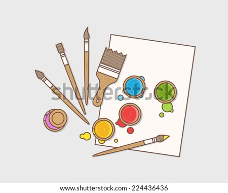 Art supplies: paint, brushes and paper. Vector illustration. - stock vector