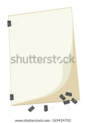 Art Supply, Binder Clips Laying on Art Board or Artist Clipboard with Copy Space for Writing or Sketch and Draw A Picture.  - stock vector
