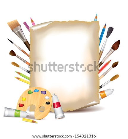 Art tools and sheet of paper vector background - stock vector