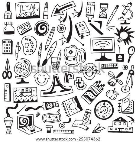 art tools , art school - doodles set - stock vector