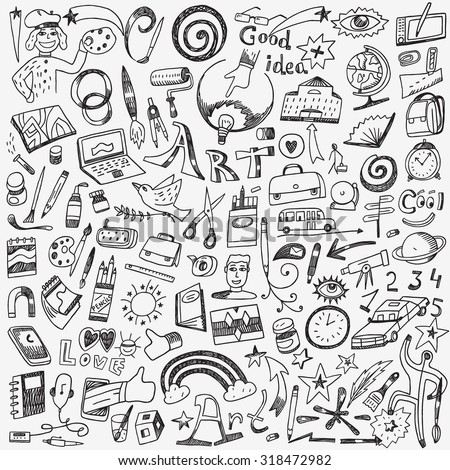 art tools , school - doodles set - stock vector