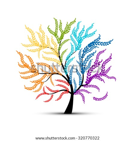 Art tree colorful  for your design. Vector illustration - stock vector