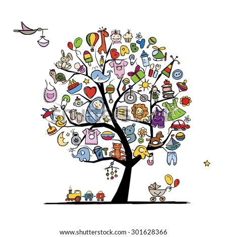 Art tree with baby toys for your design. Vector illustration - stock vector