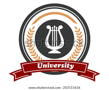 "Art University emblem with beige logo colored laurel wreath, musical instrument and the word ""University"" on red colored ribbon isolated over white background in horizontal format - stock vector"