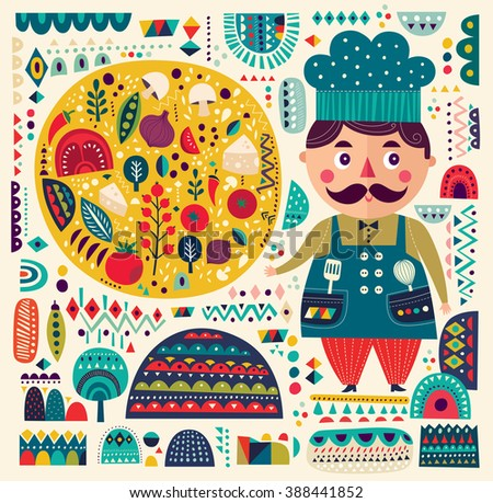 Art vector colorful illustration with pizza and funny chef in original style. Art poster for decoration your interior and for use in your unique design - stock vector