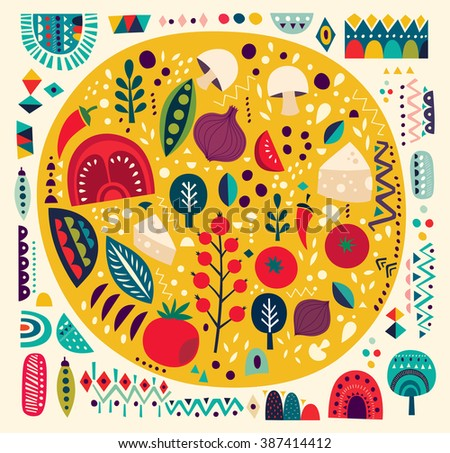 Art vector colorful illustration with pizza and other elements. Art poster. - stock vector
