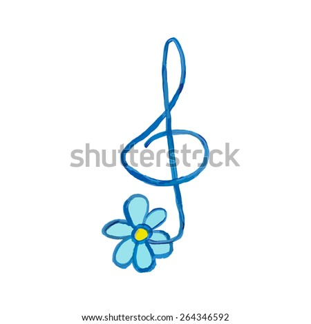 Art. Vector. Print. Treble clef with chamomile, brush and painted with acrylics. - stock vector