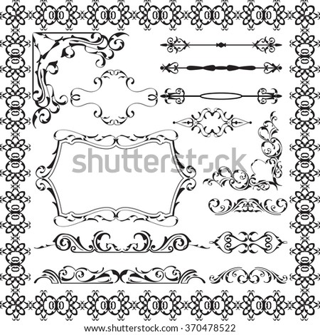 Art victorian swirl elements set isolated on  white - stock vector