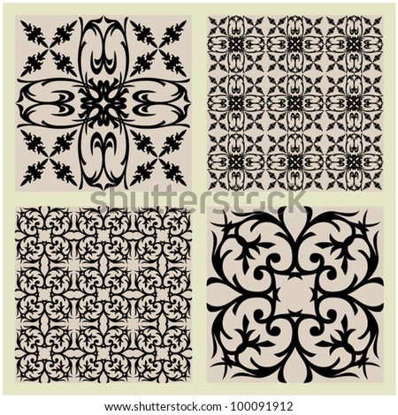 art vintage vector set 8 of damask  pattern background - stock vector