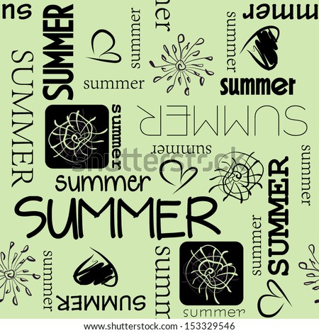 art vintage word pattern summer background in green and  black colors - stock vector