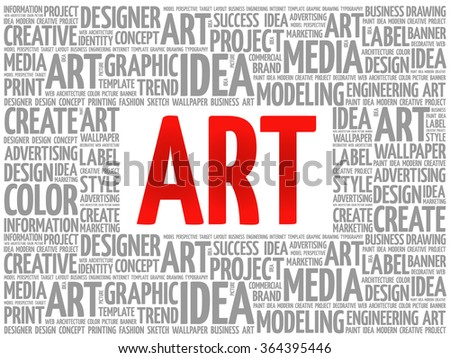 ART word cloud, creative business concept background - stock vector