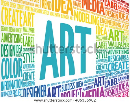 ART word cloud, creative business concept background - stock vector