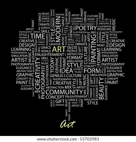 ART. Word collage on black background. Vector illustration. - stock vector